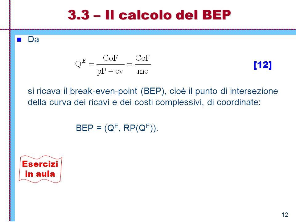 3.3 – Il calcolo del BEP Da [12]